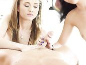 Young Threesome Beauties Share His Dick Passionately
