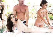 Poolside Hardcore Threesome With Stunning Girls