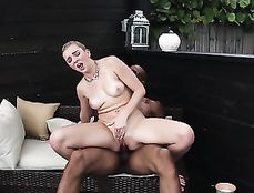 Wet White Cunt Impaled On His Big Black Cock Outdoors