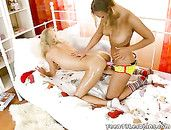 Lesbian Bent Over And Oiled By Her Strapon Girlfriend