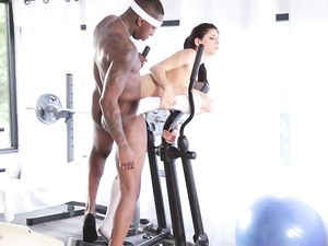 Sporty White Babe Worked Over By Big Black Cock