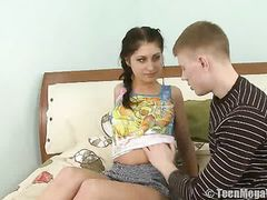 Euro Teen Spreads Her Legs For His Hard Cock