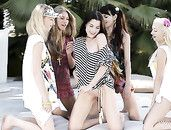 Tits And Asses Of Five Young Models Outdoors