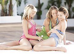 Poolside With Three Babes Oiling Up Their Hot Bodies