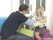 Sexy Teen Schoolgirl Blowjob Gets Him Hard To Fuck Her