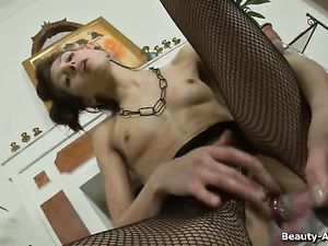 Teasing Lingerie Teen Fucks A Toy Into Her Hot Cunt