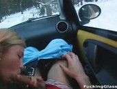 Good Head In The Car From A Cute Blonde Girl