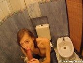 Eager Teen Girl Gives A Public Bathroom Blowjob