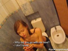 Eager Teen Girl Gives A Public Bathroom Blowjob