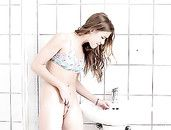 Solo Teen Masturbates After Pissing In The Toilet