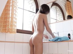 Pink Panties Girl Shaves Her Body In The Bathroom