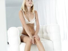Young Masturbating Blonde Looks In The Mirror