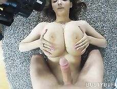 Busty Buffy Gives Her Man A POV Blowjob And Titjob