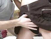 Young Wet Snatch Under The Miniskirt Needs Cock