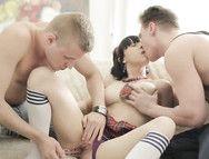 Schoolgirl Ass Fucked In Her Erotic Threesome