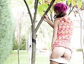 Panty And Ass Flashing Teen Cutie In The Garden