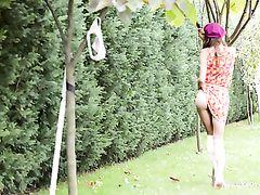 Panty And Ass Flashing Teen Cutie In The Garden