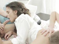 Shared Brunette Teen Enjoys Two Dicks At Once