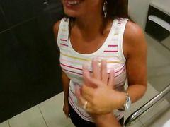 Mall Bathroom Blowjob From An Amateur Slut