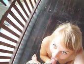 Trampy Blonde Banging Hardcore On His Deck