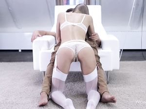 Lace Panties And Stockings On His Cock Riding Hottie