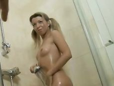 Great Tits Chick Gets Soapy In A Fun Shower Scene