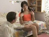 Pigtailed Girl In A Miniskirt Strokes And Fucks His Cock