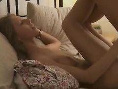 Shaved Russian Pussy Swallows His Cock As They Make Love