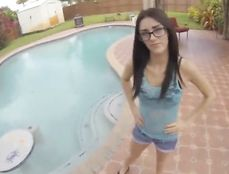 Petite Teen Nerd Paid To Blow Him Poolside