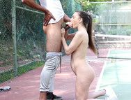 BBC Pounds A Slutty Brunette Teenager Outdoors