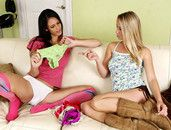 Young Licking Lesbian Stepsisters Get Into A 69