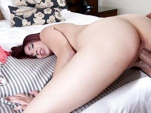 Young Latina Redhead Takes A Big Creampie From Him