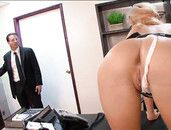 Boss Cums Hard All Over His Slutty Blonde Secretary