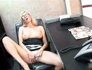 Boss Cums Hard All Over His Slutty Blonde Secretary
