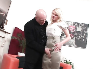 Sexy Babe In Tight Satin Wants Him To Use Her Cunt