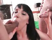 Double Dick Sucking Slut Gets Down On Her Knees