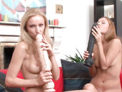 Lesbians Suck Monster Dildos Before They Fuck