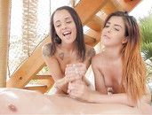 Teenagers Oiled Up And Having A Great Threesome