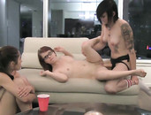 Tattooed Dyke Strapon Fucks Her Cute Friends