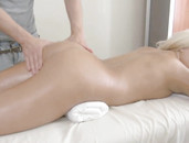 Masseur Cock Slides Into Her Wet Pussy From Behind