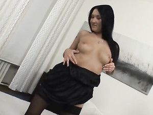 Tits And Ass Teasing Babe In Black Stockings