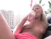 Tanned Blonde Russian Prepares Her Ass For Fucking