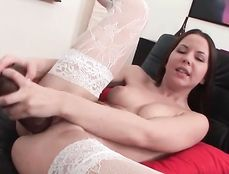 Pounding Her Juicy Young Cunt With A Big Toy