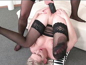 Sexy Ass Sluts In Black Stockings Fuck Massive Strapons