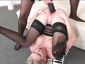 Sexy Ass Sluts In Black Stockings Fuck Massive Strapons