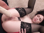 Lubed Up Lesbians Stretch For Massive Dildo Sex