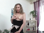 Wet Pussy Stretches Around Her Huge Dildos